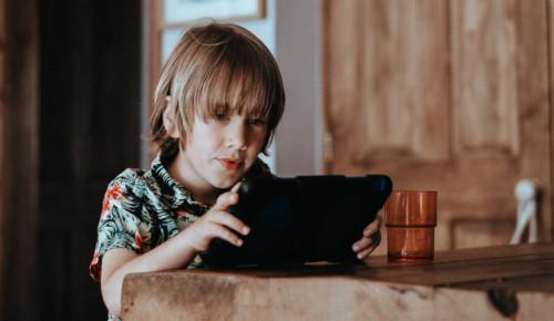 Pojke sitter vid ett bord med en padda i händerna
