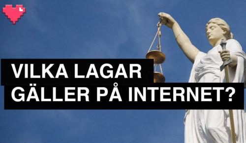 staty justitia med svart platta och vit text Vilka lagar gäller på internet Internetkunskap